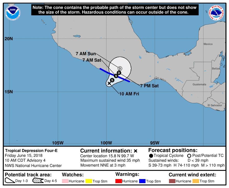 Se forma la tormenta Carlotta, cerca de Guerrero