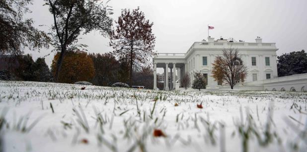 Nieve en la Casa Blanca, en Washington, D.C. (AP / Evan Vucci)