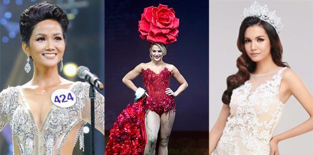 Miss Estados Unidos, al centro, a la izquierda Miss Vietman y a la derecha Miss Camboya. (Montaje)