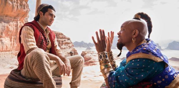 Aladdin se filmó en un enorme estudio a las afueras de Londres, donde el set de Agrabah se expandió en un área del tamaño de dos canchas de fútbol, y en locaciones en Jordania. (AP)