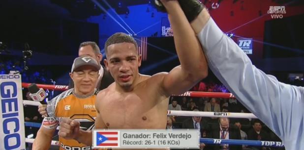 Félix Verdejo fue favorecido por los tres jueces. (Captura Twitter ESPN)