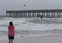 Irene Kiesler observa el movimiento de las aguas en una playa en Pensacola, ante el paso cercano del huracán Michael. (EFE / Dan Anderson)