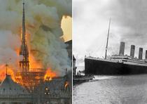Incendio en la catedral Notre Dame, en París, y el barco Titanic saliendo de Southampton, Inglaterra, el 10 de abril de 1912. (AP / Thierry Mallet / Archivo)